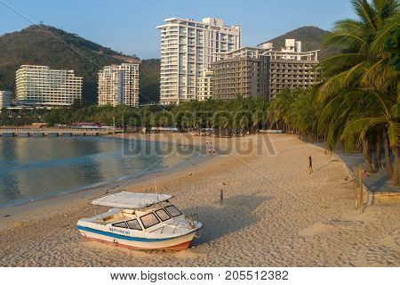 Sanya, China - April 04, 2017: Motor boat on the morning Dadonghai Beach on the tourist island of Hainan