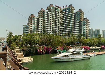 Sanya, China - April 02, 2017: Eadry Resort Hotel in Sanya City on Hainan Island