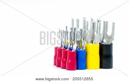Group of spade terminals electrical cable connector accessories isolated on white background with copy space