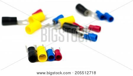 Spade terminals electrical cable connector accessories isolated on blur background