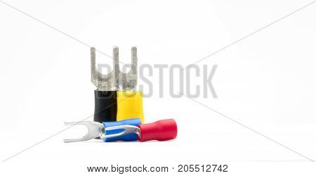Group of spade terminals electrical cable connector accessories isolated on white background