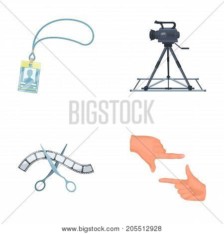 Badge, operator gesture and other accessories for the movie. Making movie set collection icons in cartoon style vector symbol stock illustration .