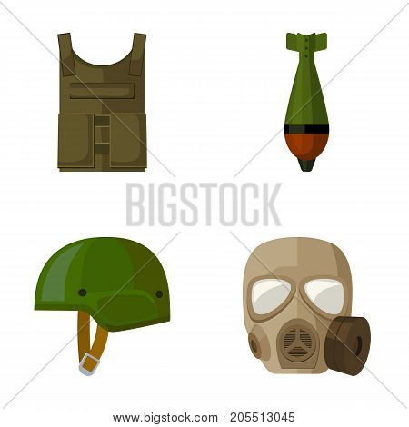 Bullet-proof vest, mine, helmet, gas mask. Military and army set collection icons in cartoon style vector symbol stock illustration .