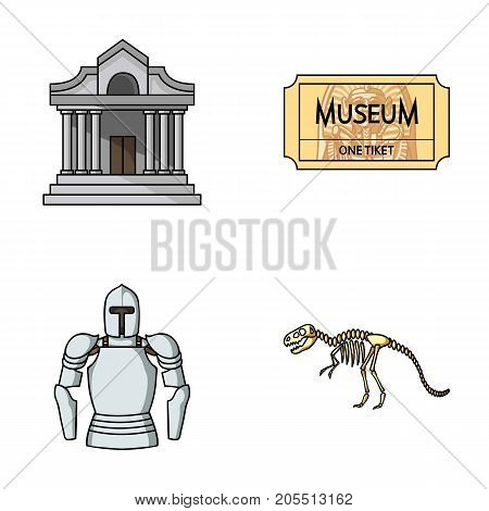 Picture, sarcophagus of the pharaoh, walkie-talkie, crown. Museum set collection icons in cartoon style vector symbol stock illustration .