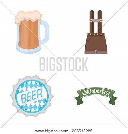 Shorts with suspenders, a glass of beer, a sign, an emblem. Oktoberfest set collection icons in cartoon style vector symbol stock illustration .