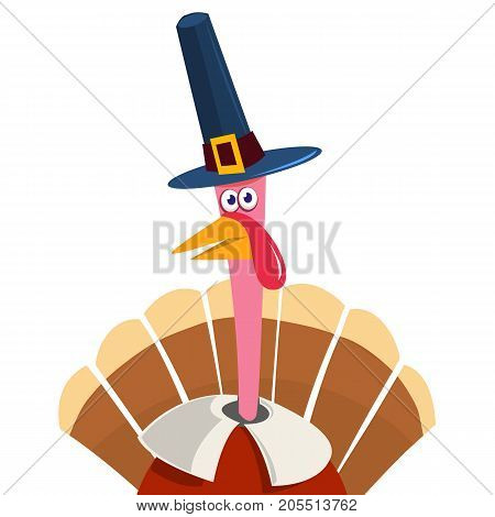 Turkey in cartoon style. Funny character Thanksgiving. Happy Thanksgiving funny illustration of turkey wearing pilgrim hat. Flat style.