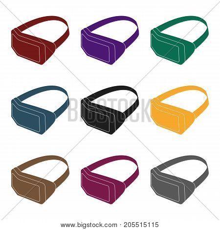 Virtual reality headset icon in black design isolated on white background. Personal computer accessories symbol stock vector illustration.