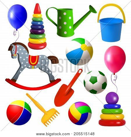Set toys for young children. Ball swing rocking horse balloon pyramid sandbox toys. Realistic isolated colored objects on white background. Vector illustration.