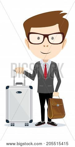 Business travel. Business traveler man with suitcase . Stock flat vector illustration.