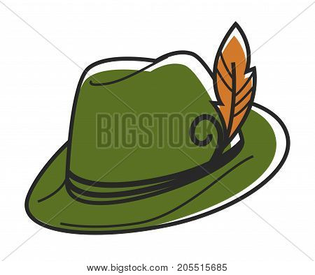Green hat with small yellow feather isolated cartoon flat vector illustration on white background. Authentic Austrian traditional headgear with decoration. Stylish headdress as part of ethnic costume.