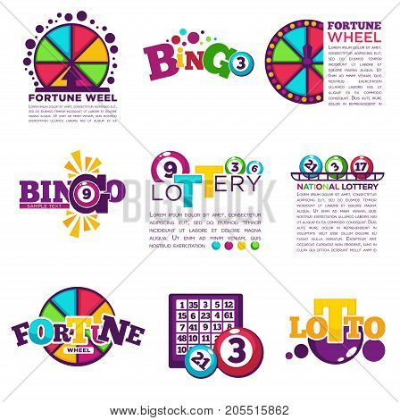 Bingo lotto or national lottery logo templates set. Vector icons of lucky jackpot win balls numbers, prize on fortune wheel roulette and lucky lottery card