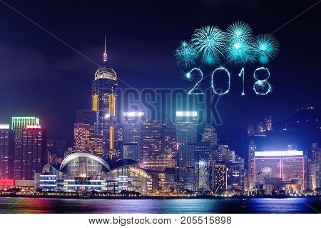 2018 Happy New Year Firework Sparkle With Hong Kong Cityscape
