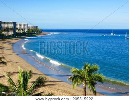 Scenic Morning View of Kaanapali Beach, Pacific Ocean, Resorts and Palm Trees - Lahaina, Maui, Hawaii.