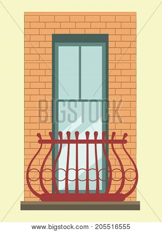 Tall modern clear window in brick wall with small elegant balcony surrounded with maroon metal curved fence isolated cartoon flat vector illustration on yellow background. Part of big building.
