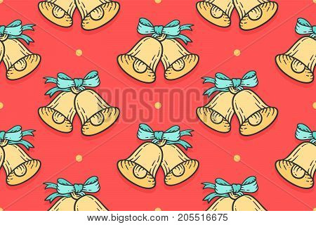 Seamless pattern for Merry Christmas, Happy New Year. Xmas pattern with sign golden jingle bells with bows in vintage engraving retro style. Christmas wrapping paper, background. Vector Illustration