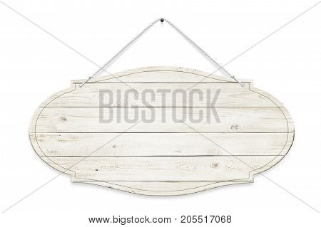 Wooden sign is isolated over white background
