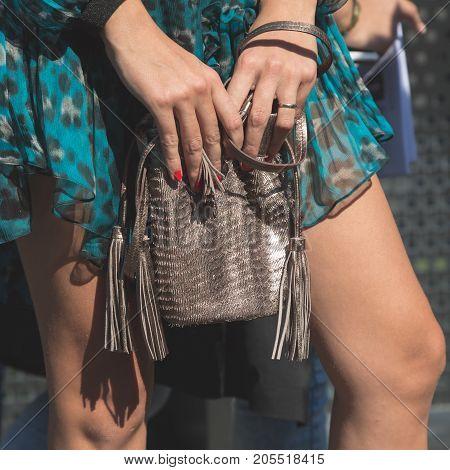 MILAN ITALY - SEPTEMBER 20: Detail of bag outside Gucci fashion show building during Milan Women's Fashion Week on SEPTEMBER 20 2017 in Milan.