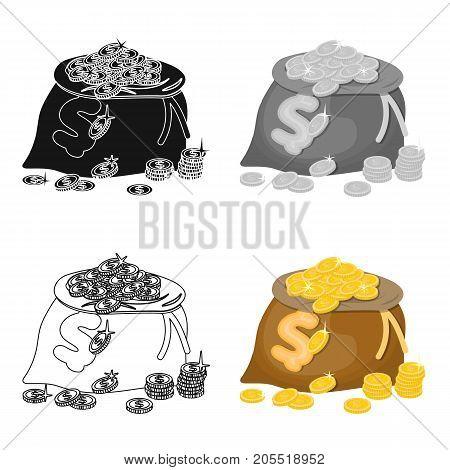 Sack, single icon in cartoon style.Sack, vector symbol stock illustration .