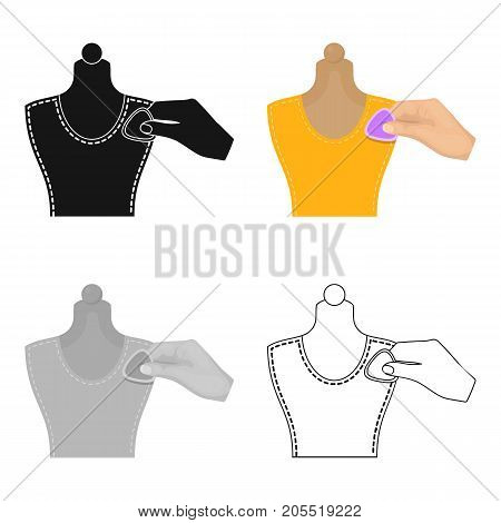 Sewing, marking with chalk on a mannequin. Sewing and equipment single icon in cartoon style vector symbol stock illustration .