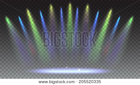 Bright lighting with coloring spotlights, projector. Background with rays of light from the colored spotlights. Shined scene, illumination 3D effects on transparent backdrop.