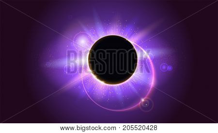 Rays and lens flare light on horizontal background. Solar eclipse, astronomical phenomenon - full sun eclipse. Glow light effect. Star burst with sparkles. The planet covering the Sun in eclipse