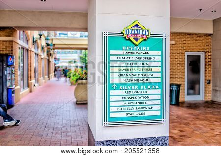 Silver Spring, Usa - September 16, 2017: Downtown Area Of City In Maryland With Large Sign On Shoppi