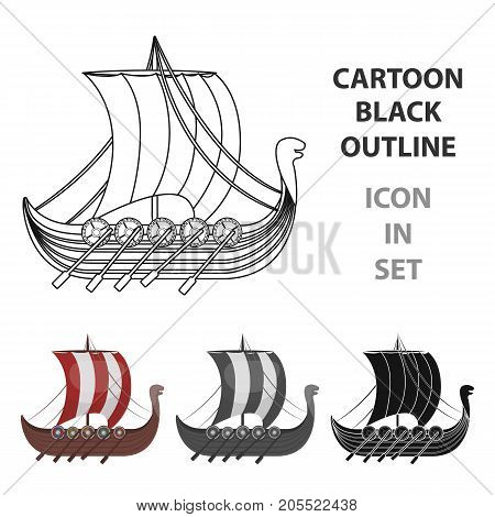 Viking's ship icon in cartoon design isolated on white background. Vikings symbol stock vector illustration.