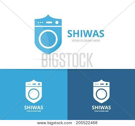 Vector of laundry and shield logo combination. Washing machine and security symbol or icon. Unique washer and guard logotype design template.