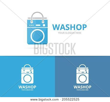 Vector of laundry and bag logo combination. Washing machine and shop symbol or icon. Unique washer and sale logotype design template.