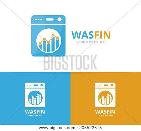 Vector of laundry and graph logo combination. Washing machine and finance symbol or icon. Unique washer and chart logotype design template.