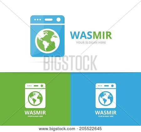 Vector of laundry and world logo combination. Washing machine and planet symbol or icon. Unique washer and earth logotype design template.