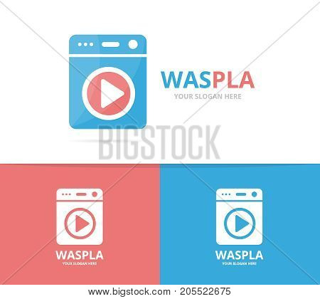 Vector of laundry and button play logo combination. Washing machine and record symbol or icon. Unique washer and audio, video logotype design template.