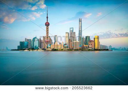 Shanghai city skyline Panoramic view of shanghai skyline and huangpu river Shanghai China