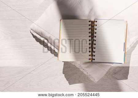 Author workplace. Comfy place top view. Creative open notebook closeup with free space, blogger workspace background, creativity concept