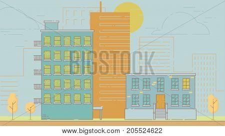 City Street stroke style vector illustration skyskrapers