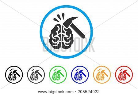 Brain Impact rounded icon. Style is a flat brain impact grey symbol inside light blue circle with black, gray, green, blue, red, orange color versions. Vector designed for web and software interfaces.