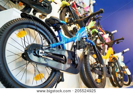 The children's bikes in storefront in store
