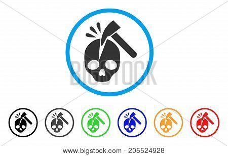Break Skull rounded icon. Style is a flat break skull grey symbol inside light blue circle with black, gray, green, blue, red, orange color versions. Vector designed for web and software interfaces.