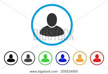 Client rounded icon. Style is a flat client gray symbol inside light blue circle with black, gray, green, blue, red, orange versions. Vector designed for web and software interfaces.