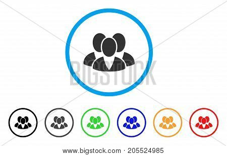 Clients rounded icon. Style is a flat clients gray symbol inside light blue circle with black, gray, green, blue, red, orange versions. Vector designed for web and software interfaces.