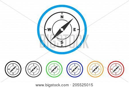 Compass rounded icon. Style is a flat compass gray symbol inside light blue circle with black, gray, green, blue, red, orange color versions. Vector designed for web and software interfaces.