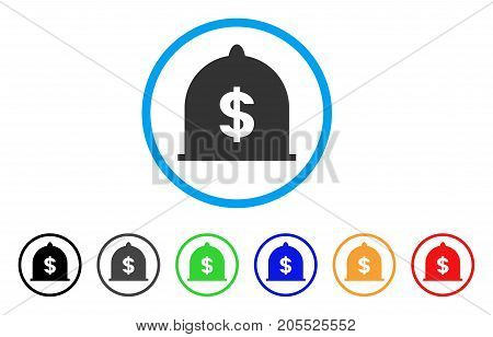 Dollar Standard rounded icon. Style is a flat dollar standard grey symbol inside light blue circle with black, gray, green, blue, red, orange variants. Vector designed for web and software interfaces.