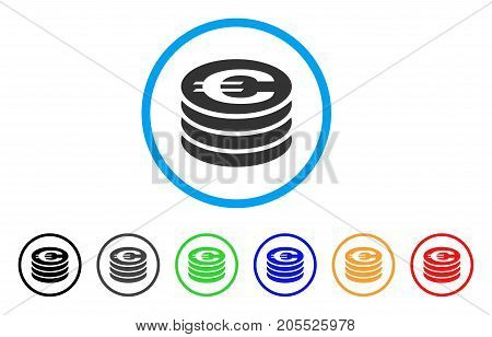 Euro Coin Column rounded icon. Style is a flat euro coin column gray symbol inside light blue circle with black, gray, green, blue, red, orange variants.