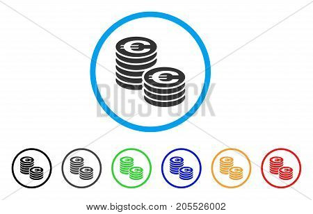 Euro Coin Columns rounded icon. Style is a flat euro coin columns gray symbol inside light blue circle with black, gray, green, blue, red, orange variants.