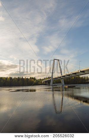 Bridge over the River in Umea Sweden in Autumn.