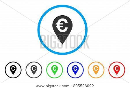 Euro Map Marker rounded icon. Style is a flat euro map marker grey symbol inside light blue circle with black, gray, green, blue, red, orange versions. Vector designed for web and software interfaces.