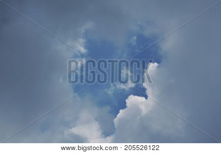 rain cloud floating and covering bright sky