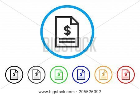 Invoice Page rounded icon. Style is a flat invoice page gray symbol inside light blue circle with black, gray, green, blue, red, orange color versions. Vector designed for web and software interfaces.
