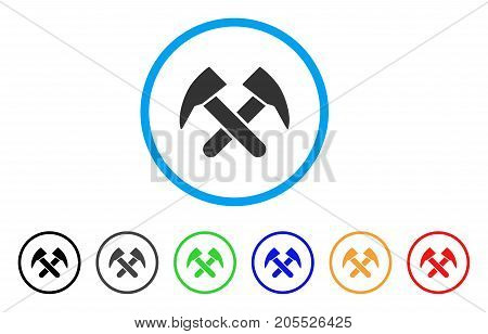 Job Hammers rounded icon. Style is a flat job hammers gray symbol inside light blue circle with black, gray, green, blue, red, orange variants. Vector designed for web and software interfaces.