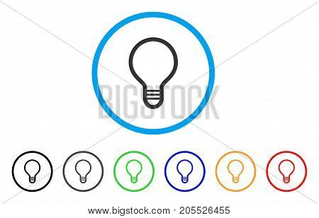Lamp Bulb rounded icon. Style is a flat lamp bulb grey symbol inside light blue circle with black, gray, green, blue, red, orange variants. Vector designed for web and software interfaces.